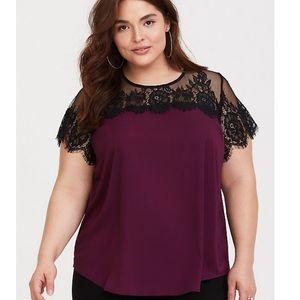 Torrid | Lace inset satin blouse black purple 2X